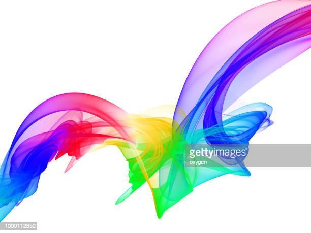 Rainbow ribbon on white background
