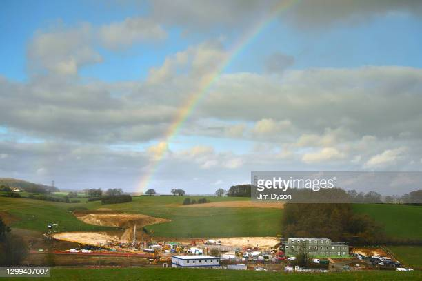 Rainbow rises above the construction site at the Chalfont St Giles vent shaft on January 29, 2021 in Chalfont St Giles, England. Two 2,000-ton...