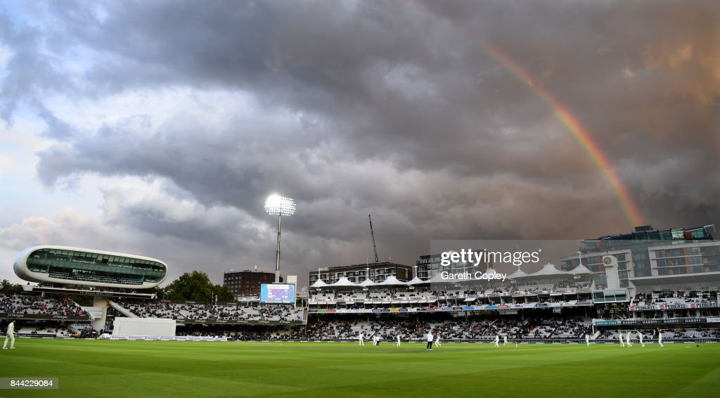 A rainbow shines over the mound stand during day two of the 3rd Investec Test match between England and the West Indies at Lord's Cricket Ground on September 8, 2017 in London, England.
