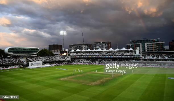 A rainbow shines over the mound stand during day two of the 3rd Investec Test match between England and the West Indies at Lord's Cricket Ground on...