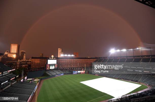 Rainbow spans Oriole Park at Camden Yards during a rain delay of the game between the Baltimore Orioles and the Detroit Tigers on August 10, 2021 in...