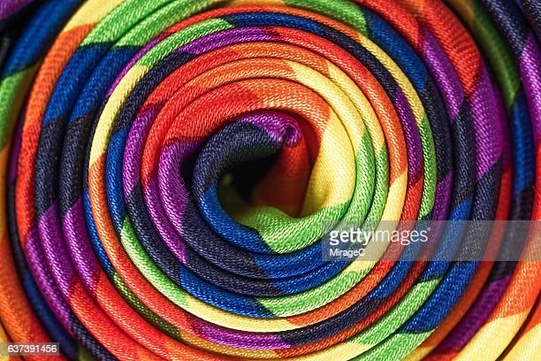 Rainbow Spiral Silk Textile