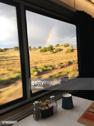 A rainbow spotted from a window of dining train.