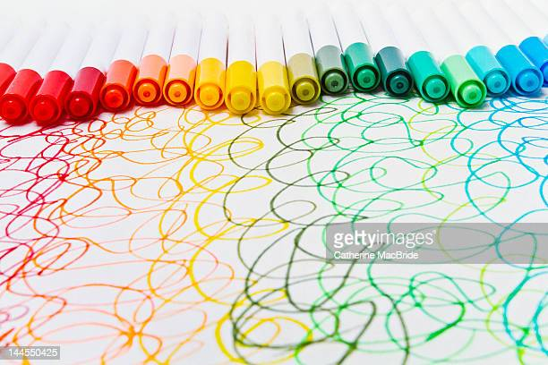 rainbow squiggles in felt tip - catherine macbride stock pictures, royalty-free photos & images