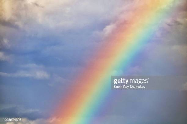 rainbow wonder in the skies (creative brief - nature and wildlife) - rainbow sky stock pictures, royalty-free photos & images