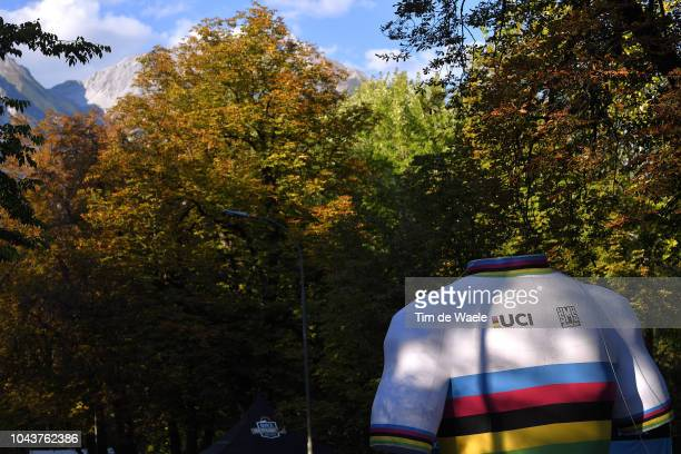 Rainbow World Champion Jersey / Detail view / during the Men Elite Road Race a 258,5km race from Kufstein to Innsbruck 582m at the 91st UCI Road...
