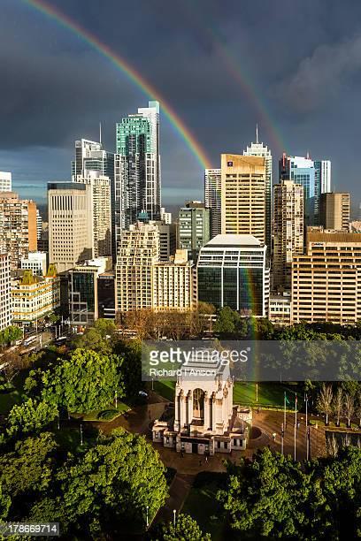 Rainbows, city & Anzac War Memorial in Hyde Park