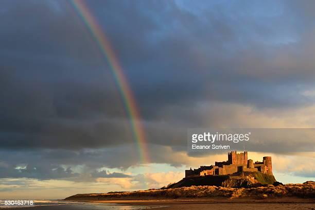 Rainbow's end at Bamburgh Castle, Bamburgh, Northumberland, England, United Kingdom, Europe