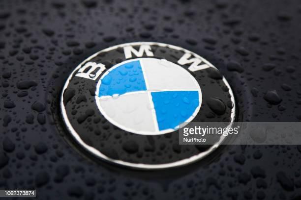Raindrops are seen on BMW car logo Krakow Poland on 5 October 2016