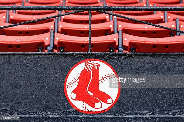 Raindrops are seen on the Boston Red Sox logo after game three of the American League Divison Series between the Boston Red Sox and the Cleveland...