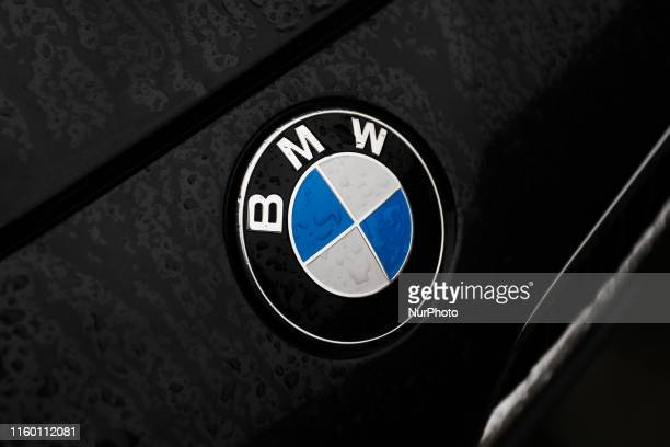 Raindrops are seen on the logo of BMW car in Krakow Poland on October 5 2016