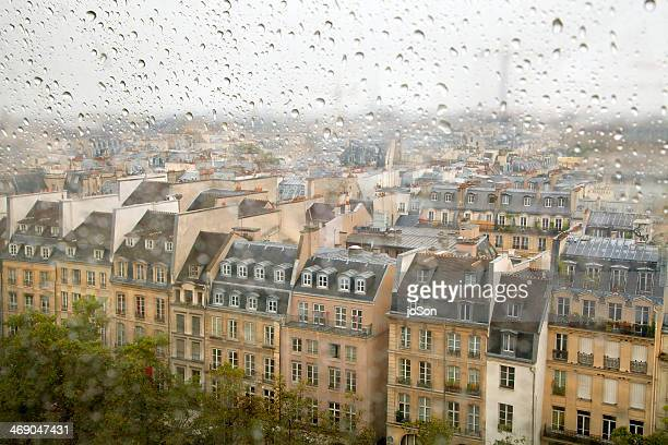 Raindrops on window with view of Paris