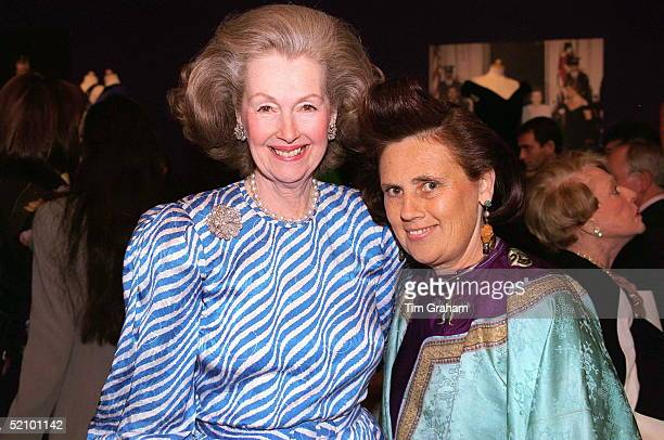 Raine Comtesse De Chambrun With Fashion Journalist Suzy Menkes At A Private Viewing And Reception At Christies Of The Princess Of Wales's Dresses For...