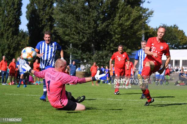 Rainer Bauer of FC Bayern Muenchen scores his first goal on Day 1 of the DFB Over40 And Over50 Cup between FC Bayern Muenchen and Hertha BSC Berlin...