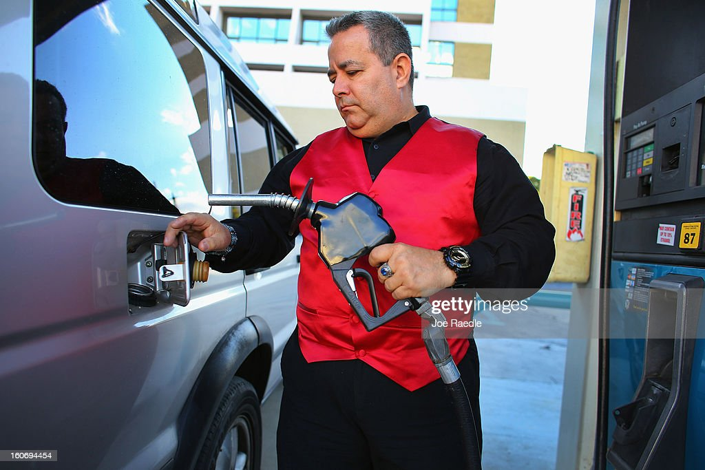 Rainer Betancout pumps gas on February 4, 2013 in Miami, Florida. Reports indicate that gas pump prices are at their highest level on record for this period of the year and may be an indication that the year ahead may see even higher records.