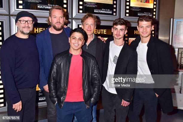 Rainer Bock Lars Montag Hussein Eliraqui Jan Henrik Stahlberg Aaron Hilmer and Eugen Bauder attend the family and friends screening of the film...