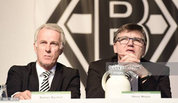Rainer Bonhof and Hans Meyer is seen during the Borussia Mönchengladbach Annual Meeting at the Borussia Park on April 3, 2017 in Moenchengladbach,...