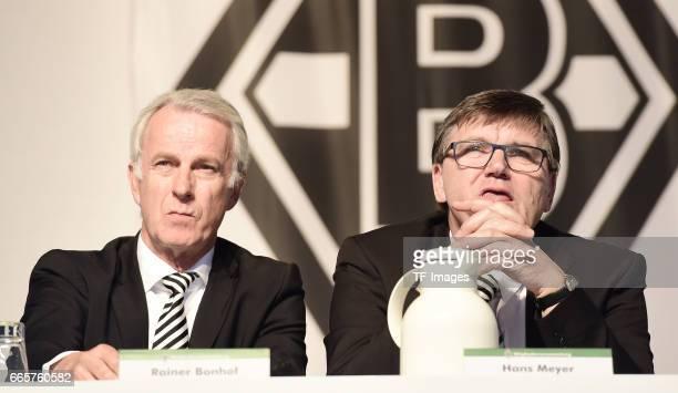 Rainer Bonhof and Hans Meyer is seen during the Borussia Mönchengladbach Annual Meeting at the Borussia Park on April 3 2017 in Moenchengladbach...