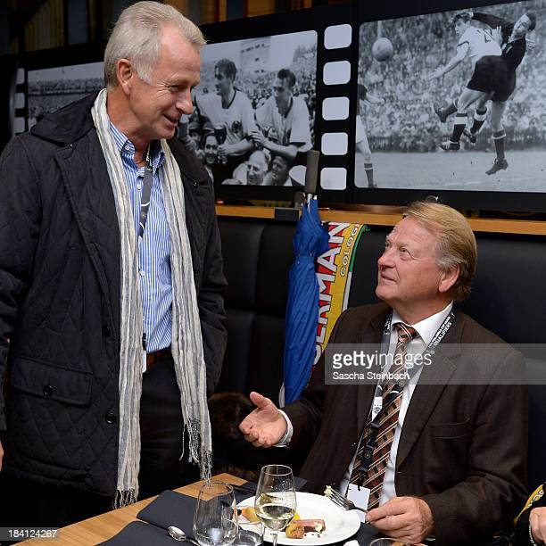 Rainer Bonhof and KarlHeinz Thielen talk to each other during the Club Of Former National Players Meeting prior to the FIFA 2014 World Cup Qualifier...