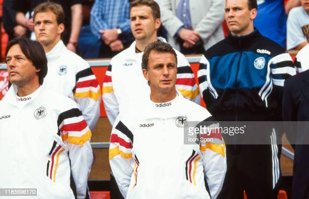 Rainer Bonhof assistant of Germany during the European Championship match between Germany and Czech Republic on 9 June 1996 at Old Trafford,...