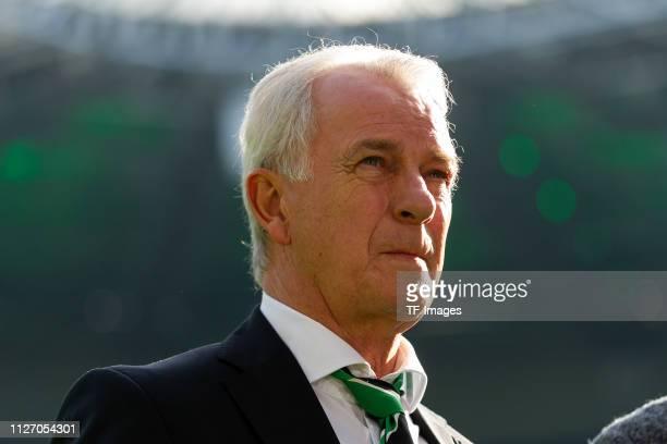 Rainer Bonhof of Borussia Moenchengladbach looks on prior the Bundesliga match between Borussia Moenchengladbach and VfL Wolfsburg at BorussiaPark on...