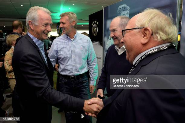 Rainer Bonhof Rudolf Rudi Bommer Matthias Matthes Mauritz and Uwe Seeler are seen during the 'Club Of Former National Players' meeting prior to the...
