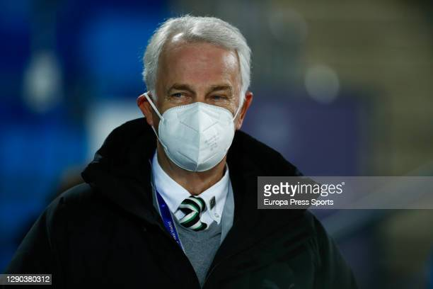 Rainer Bonhof, Vice President Monchengladbach, is seen during the UEFA Champions League Group B stage match between Real Madrid and Borussia...