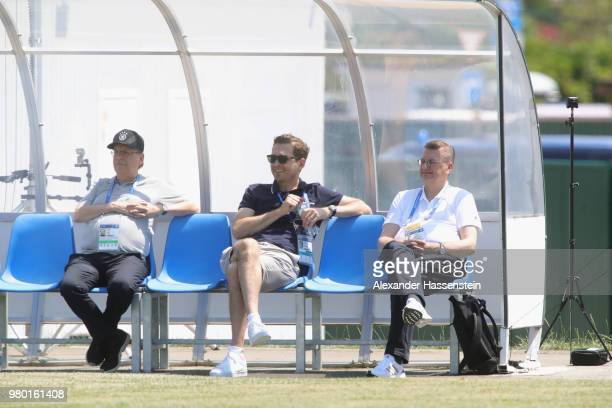 Rainer Koch DFB VicePresident General Secretary Friedrich Curtius and DFB President Reinhard Grindel attends the Germany Training Press Conference at...