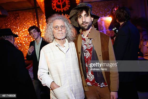 Rainer Langhans and David Kurt Karl Roth attend the Dandy Diary and Zalando Fashion Week Party on January 18 2015 in Berlin Germany