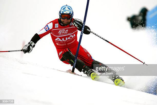 Rainer Schoenfelder of Austria in action during the FIS Ski World Cup Mens Slalom event March 14, 2004 in Sestrieres, Italy.