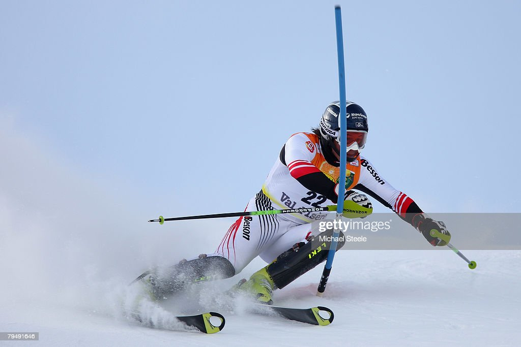 Rainer Schoenfelder of Austria in action on his way to fourth place during the slalom discipline of the super combined event of the men's FIS Ski World Cup at Val d'Isere on February 3, 2008 in Val d'Isere, France.