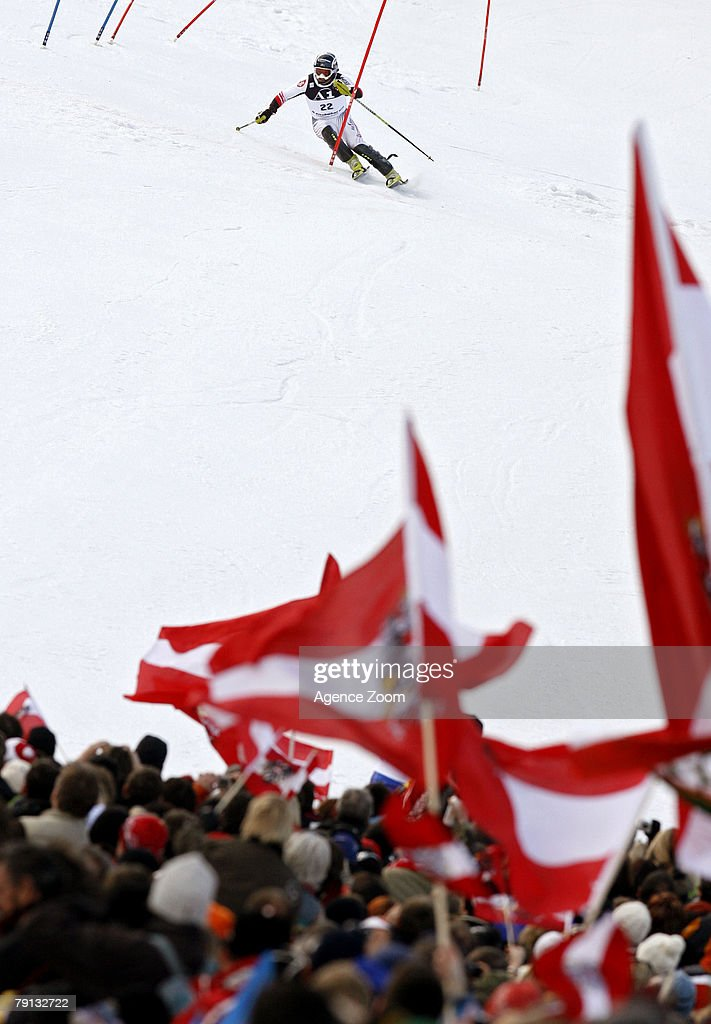 Rainer Schoenfelder of Austria takes 5th place during the Alpine FIS Ski World Cup Men's Slalom on January 20, 2008 in Kitzbuehel, Austria.