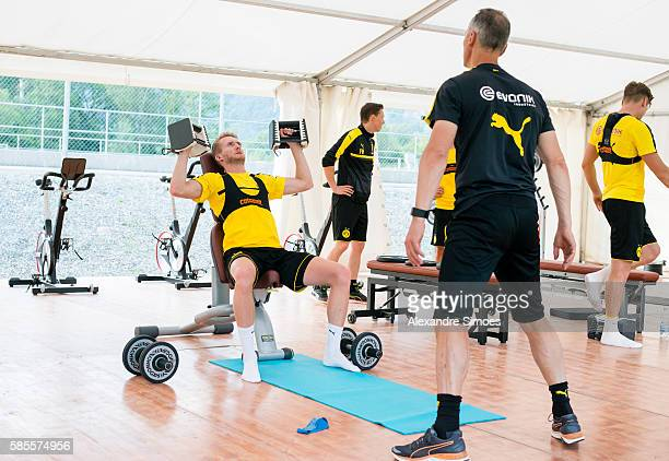 Rainer Schrey and Andre Schuerrle of Borussia Dortmund during a training session on the training ground of Bad Ragaz during Borussia DortmundÕs...