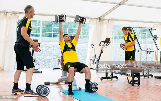 Rainer Schrey and Raphael Guerreiro of Borussia Dortmund during a training session on the training ground of Bad Ragaz during Borussia Dortmund's...