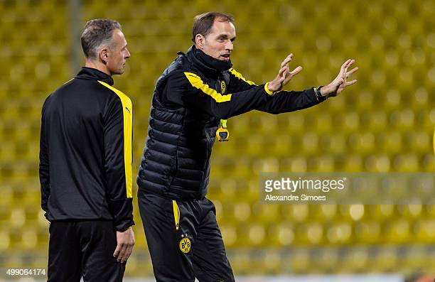 Rainer Schrey l and Manager Thomas Tuchel of Borussia Dortmund during the training session prior to the Europa League group stage match between FC...