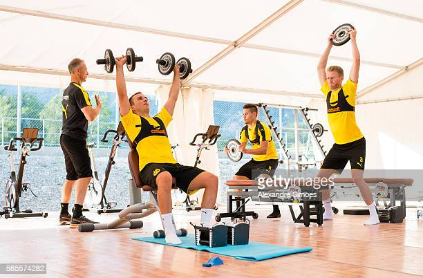 Rainer Schrey Mario Goetze Raphael Guerreiro and Andre Schuerrleof Borussia Dortmund during a training session on the training ground of Bad Ragaz...