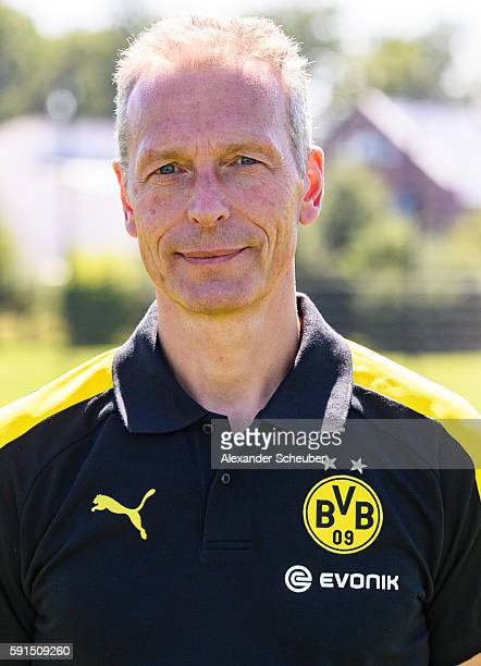 Rainer Schrey poses during the team presentation of Borussia Dortmund on August 17 2016 in Dortmund Germany