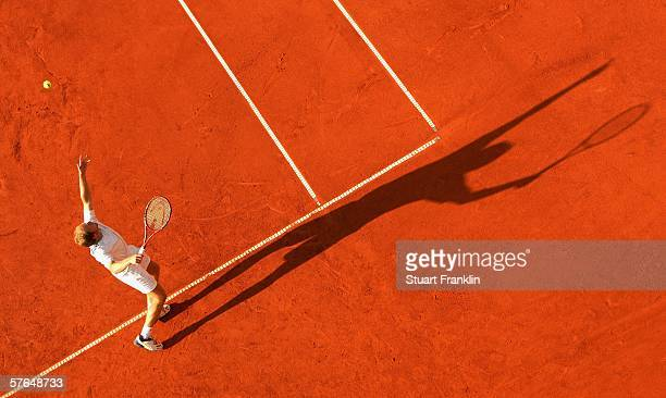 Rainer Schuettler of Germany in action during his doubles match with Michael Kohlmann of Germany against Paul Hanley of Australia and Kevin Ullyett...