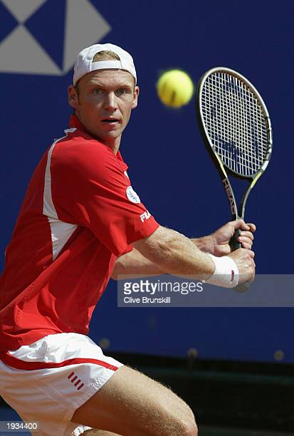 Rainer Schuettler of Germany plays a backhand against Alberto Martin of Spain during the second round of the Tennis Masters at The Monte Carlo...