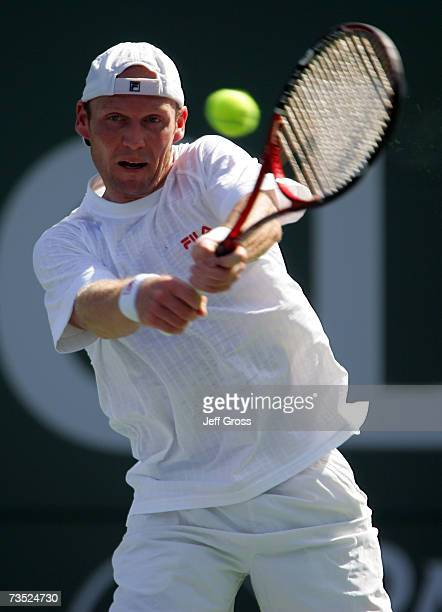 Rainer Schuettler of Germany returns a backhand to Stefano Galvani during the Pacific Life Open on March 8 2007 at the Indian Wells Tennis Garden in...