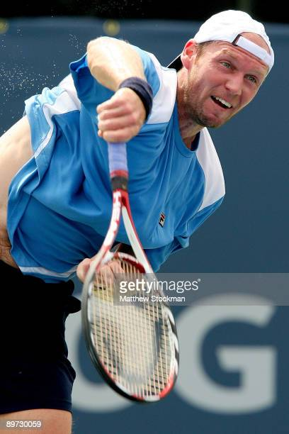 Rainer Schuettler of Germany serves to Florent Serra of France during the Rogers Cup at Uniprix Stadium August 10, 2009 in Montreal, Quebec, Canada.
