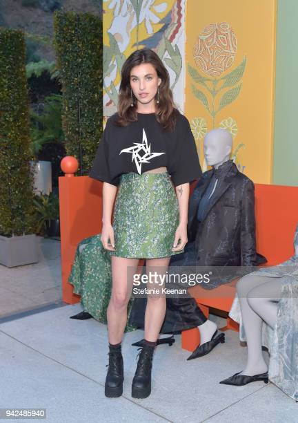 Rainey Qualley attends the HM celebration of 2018 Conscious Exclusive collection at John Lautner's Harvey House on April 5 2018 in Los Angeles...
