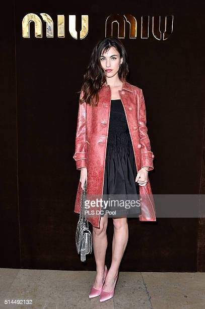 Rainey Qualley attends the Miu Miu show as part of the Paris Fashion Week Womenswear Fall / Winter 2016 on March 9 2016 in Paris France