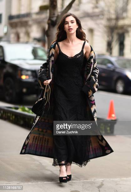 Rainey Qualley is seen outside the Ralph Lauren show during New York Fashion Week Women's Fall/Winter 2019 on February 07 2019 in New York City