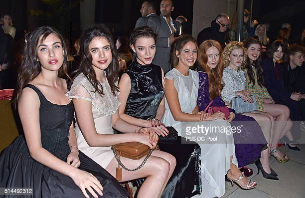 Rainey Qualley Margaret Qualley Anya Taylor Joy Matilda Lutz India Salvor Menuez Julia Garner Millie Brady and Stacy Martin attend the Miu Miu show...