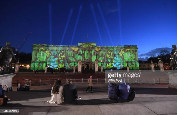 A rainforest design is projected onto the facade of Buckingham Palace to celebrate Her Majesty Queen Elizabeth II's global conservation initiative...