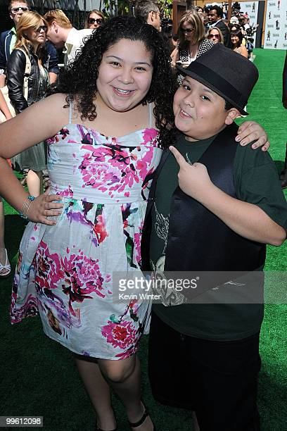 Raini Rodriguez and Rico Rodriguez arrive at the premiere of DreamWorks Animation's 'Shrek Forever After' at Gibson Amphitheatre on May 16 2010 in...