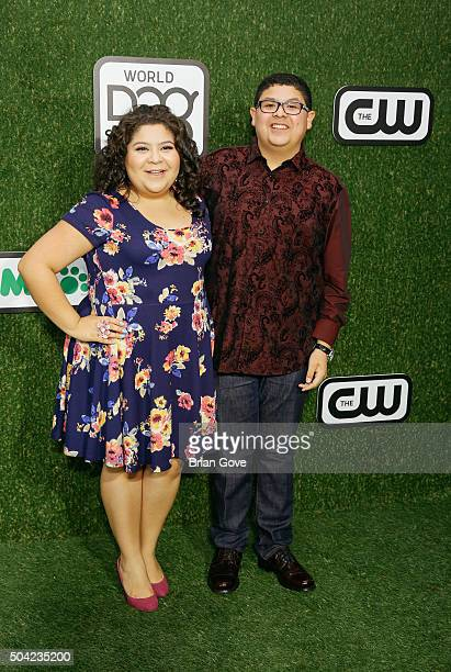 Raini Rodriguez and Rico Rodriguez attend the 2016 World Dog Awards at the Barker Hangar on January 9 2016 in Santa Monica California