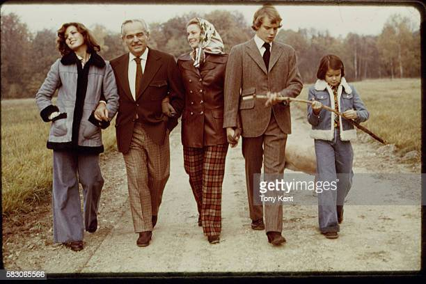Rainier and Grace of Monaco strolling with their three children