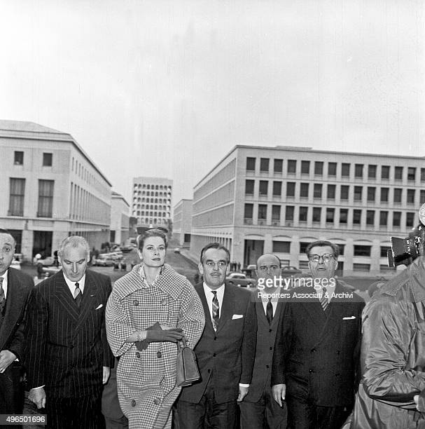 Rainier III , Prince of Monaco, and his wife, American actress and princess Grace Kelly, during their stay in Rome, visiting the Olympic complex in...